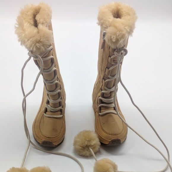 2019 best comfortable feel factory outlets TIMBERLAND WHEAT LACE UP HIGH FAUX FUR SNOW BOOTS